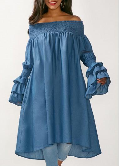 Blue Flare Sleeve Bardot Long Blouse