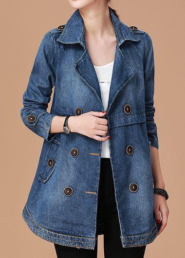 Long Sleeve Notch Collar Button Embellished Denim Coat