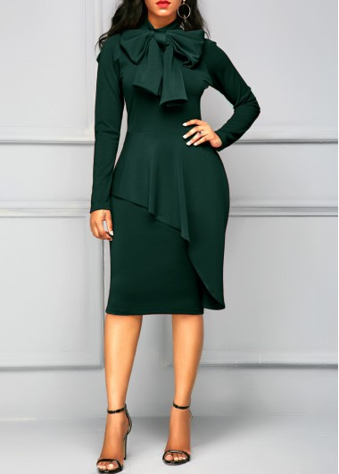 Dark Green Tie Neck Peplum Waist Dress