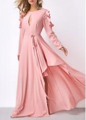 Pink Keyhole Neckline Cold Shoulder Belted Maxi Dress