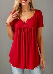 Red Short Sleeve Split Neck Curved Blouse
