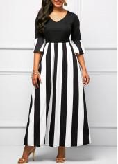 Striped Flare Sleeve V Neck Maxi Dress