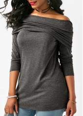 Deep Grey Long Sleeve Off the Shoulder Blouse