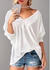 White V Neck Long Sleeve T Shirt
