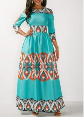 Three Quarter Sleeve Printed Maxi Dress