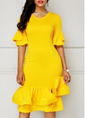 Yellow V Neck Flare Sleeve Dress