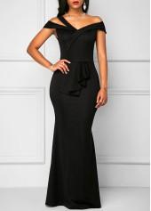 Zipper Back Black High Waist Maxi Dress