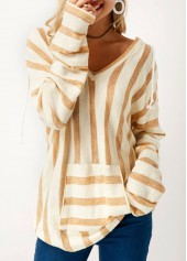 Pocket Long Sleeve Striped V Neck Sweater