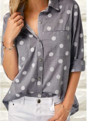 Polka Dot Print Grey Turndown Collar Shirt