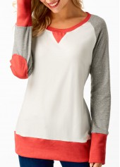Round Neck Long Sleeve Patchwork T Shirt