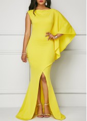 Yellow One Sleeve Front Slit Maxi Dress