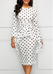 Long Sleeve Overlay Polka Dot Dress