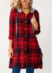 Hooded Collar Plaid Print Asymmetric Hem Shirt