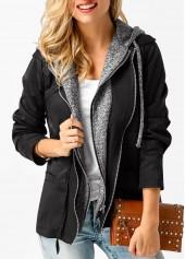 Zipper Up Long Sleeve Hooded Collar Coat