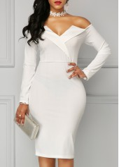 Long Sleeve White Bardot Sheath Dress