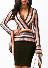 Striped Deep V Neck Long Sleeve Blouse