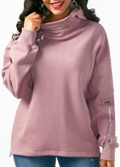 Zipper Side Pocket Embellished Long Sleeve Hoodie