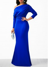 wholesale Skew Neck Draped Long Sleeve Mermaid Dress