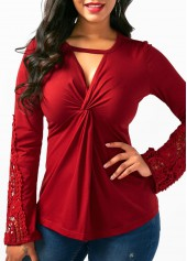Wine Red Long Sleeve Cutout Patchwork Blouse