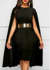 Black Round Neck Cape Sheath Dress