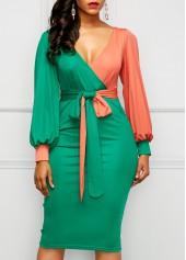 V Neck Belted Color Block Sheath Dress