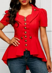 Red Button Embellished Asymmetric Hem Blouse