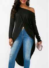 Skew Neck Long Sleeve Asymmetric Hem Blouse