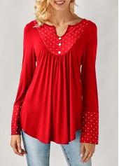 Long Sleeve Polka Dot Print Red Blouse
