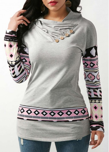Button Embellished Long Sleeve Grey T Shirt