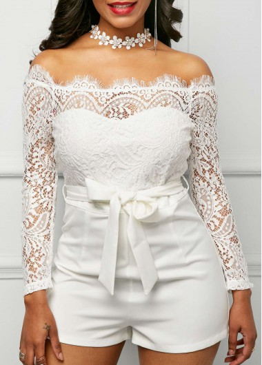 Long Sleeve Lace Panel White Bardot Romper