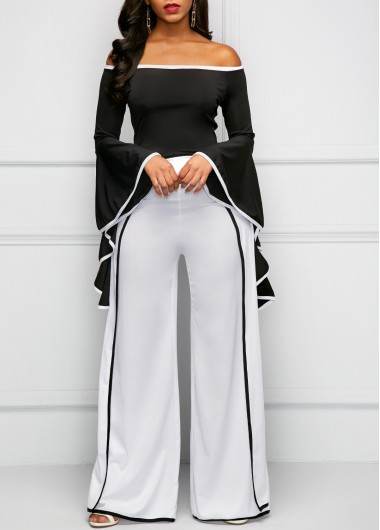 Contrast Binding Long Sleeve Bardot Jumpsuit