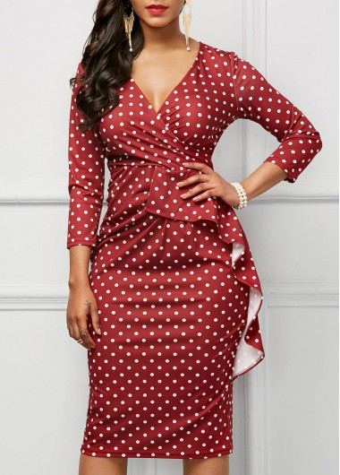 V Neck Polka Dot Print Ruffle Dress