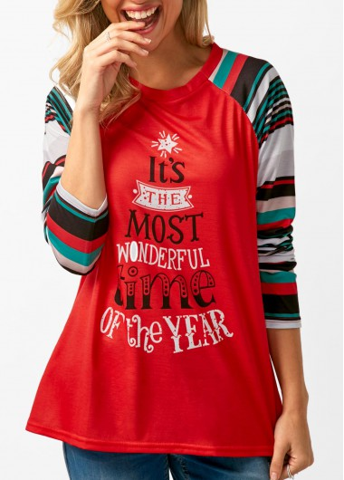 Letter Print Red Long Sleeve T Shirt