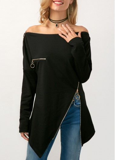 Asymmetric Hem Zipper Embellished Off the Shoulder Blouse
