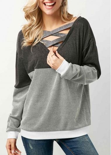 Color Block Criss Cross Long Sleeve Sweatshirt