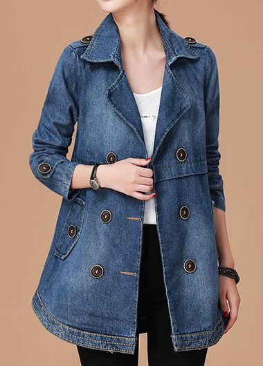 Long Sleeve Notch Collar Button Embellished Denim Coat