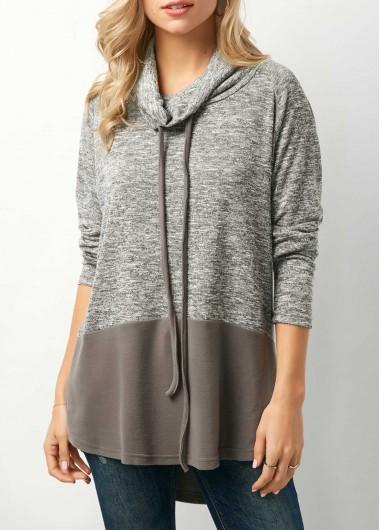 Drawstring Color Block Cowl Neck Sweatshirt