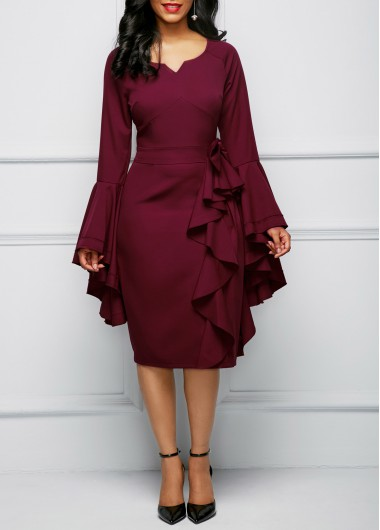 Bowknot Embellished Flare Sleeve Flouncing Dress
