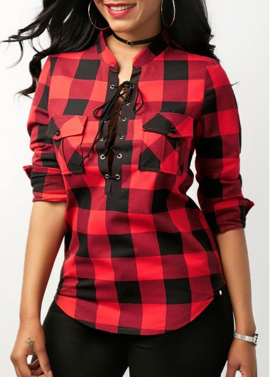 Curved Plaid Print Lace Up Front Red Blouse