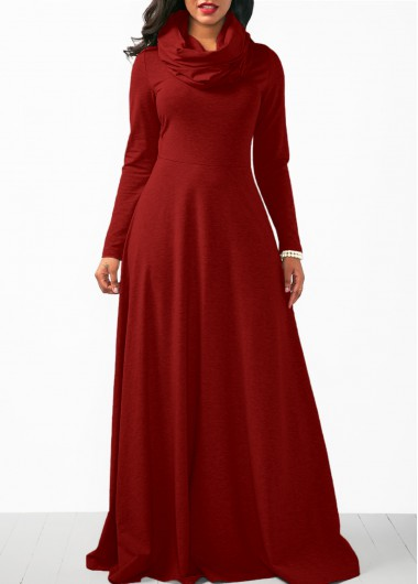Long Sleeve Wine Red Cowl Neck Maxi Dress