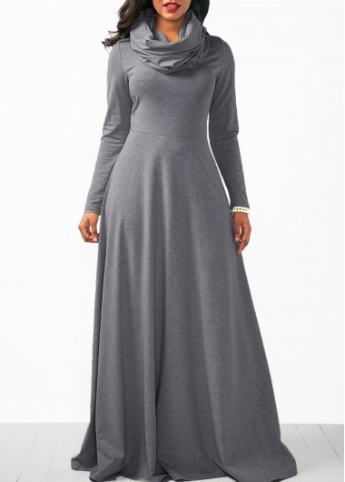 Long Sleeve Cowl Neck Grey Dress