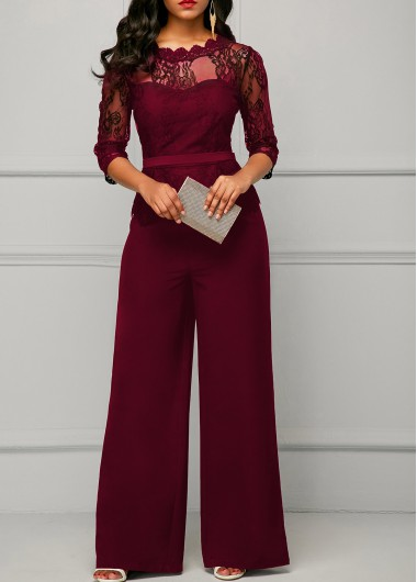 Peplum Waist Lace Panel Burgundy Jumpsuit