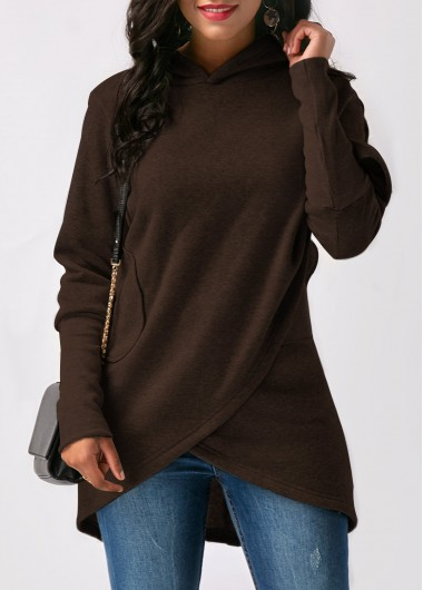 Coffee Long Sleeve Asymmetric Hem Hoodie