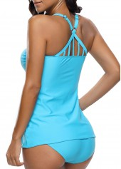 wholesale Cross Back Patchwork Blue Tankini Top and Panty