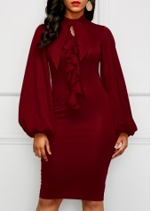 Wine Red Lantern Sleeve Cutout Sheath Dress