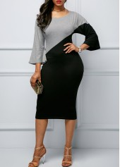 Round Neck Color Block Sheath Dress