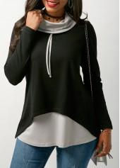 Patchwork Long Sleeve Cowl Neck T Shirt