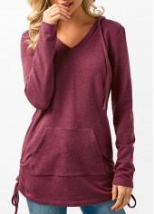 Long Sleeve Drawstring Side Kangaroo Pocket Hoodie