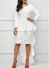 White Long Sleeve Round Neck Overlay Dress
