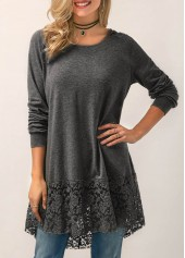 Lace Panel Long Sleeve Hooded Collar Blouse